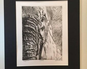 Elephant Etching Print