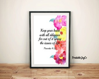 Bible Verse Printable Proverbs 4:23 Scripture Wall Art Instant Download 8 x 10 Christian Printable Proverbs Bible Verse Wall Art
