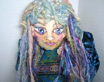 Cloth Art Doll Bust,  Sprite Fairy Fantasy Goddess Soft Sculpture Shelf Sitter