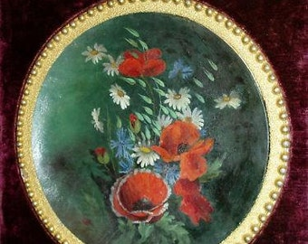 Quirky Victorian Period Framed Floral Painting