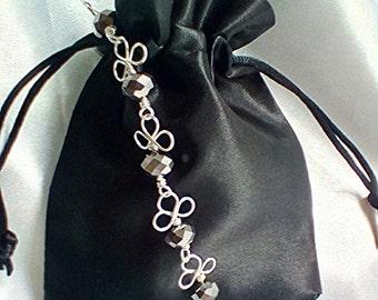 Silver bracelet three leaf clover bracelet wire wrapped bracelet beaded bracelet anniversary gift handmade silver bracelet swarovski pearl