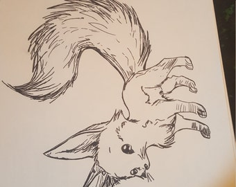 fennec fox ink drawing