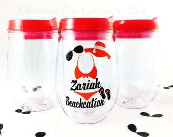 Bikini Wine Tumbler/Beach Tumbler/Beach Lovers/Wine Tumbler/Beachcation/Cute Tumblers/Bev2Go/Wine Lovers/Stemless Wine Tumbler
