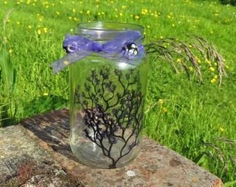 Hand painted  Purple Blossoms Tea Light Jar