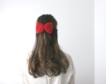HandKnit HAIR BOW in bright red, Barrette Bow, Snap Clip Hair Accessory, Brooch, Elastic band, Bow Tie, Red Bow, gift under 20, readyto ship
