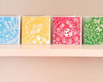 Pack of Six Greetings Cards, all different designs, linocut print