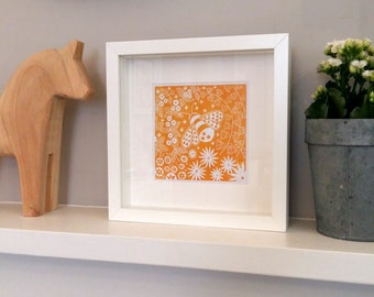 Beatrix Bee, small framed print, linocut print