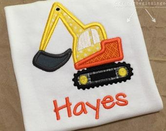 Digger Applique Shirt / Excavator Shirt Applique / Personalized Digger Shirt / Construction Applique Shirt / Personalized Truck Shirt