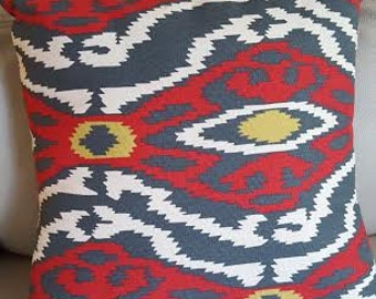Southwestern Style Pillow 16x16, Red w/Gray, Yellow & White