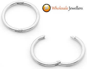 New 925 Solid Sterling Silver Hinged Hoop Non Allergenic Sleeper Earrings Australian Made