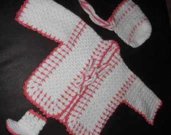White and Coral 3-Pc Sweater Set