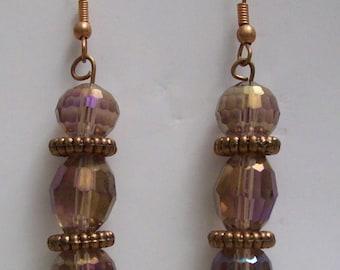 Light Purple Glass & Antique Copper-finished Brass Earrings