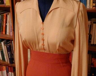 1940's pumpkin-colored dress, silk and rayon