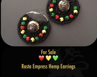 Rasta Empress Hemp Earrings