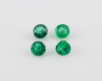 0.77 ctw, Mixed Round Cut Loose Emeralds, 3.4mm - 3.5mm
