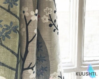 Scandinavian Curtains- Made to Measure Curtains- Grey Curtains- Lined- Rod Curtains- Designer Curtains- Bespoke Curtains- Green- Pink