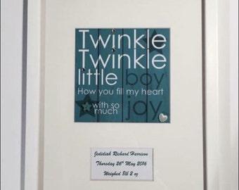 Twinkle twinkle little boy personalised frame