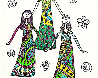 A4 ink drawing of 3 princesses with zentangle dresses