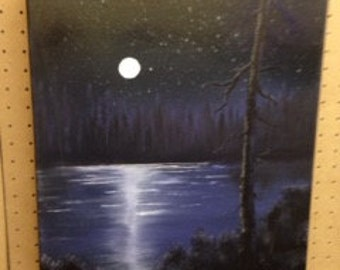 """Oil on Canvas Painting. Titled """" Full Moon"""""""