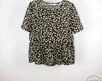 Spots Sheer Peplum Top, Summer top, Blouse, Sheer, Peplum Hem, Polka Dots