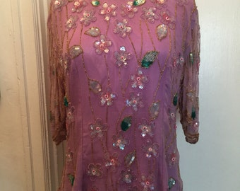 Late 80's Ramana lavender chiffon floral beaded top