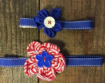 Handmade Flower Headband - Blue and White
