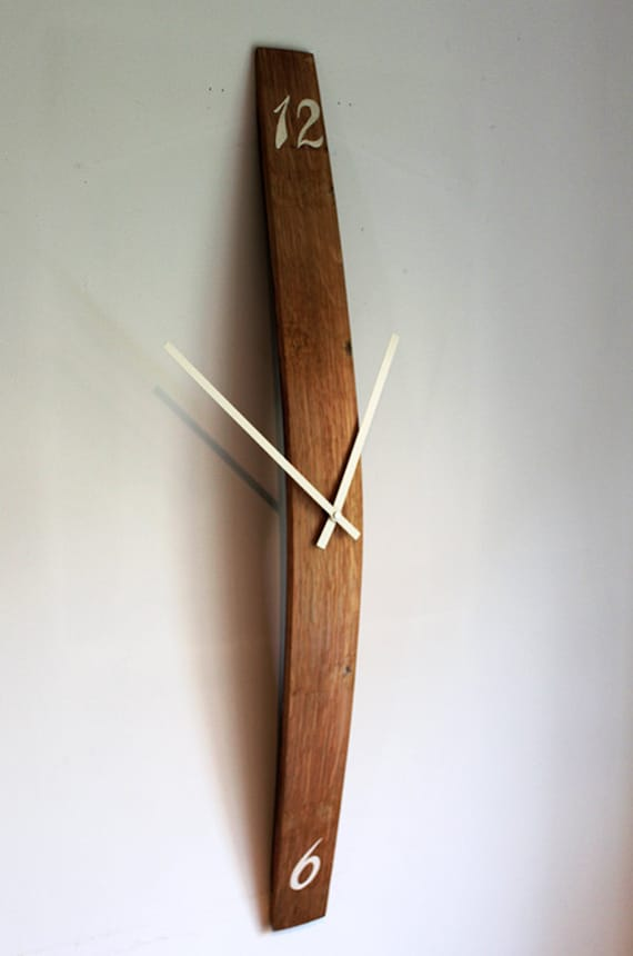 Wine Barrel Stave Wall Clock With Hand Painted Numbers