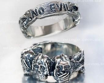 Hear no evil, say no evil, do no evil sterling silver ring biker ring skeleton ring skull engagement ring