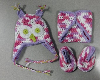 Newborn Owl Hat, Diaper cover and Booties