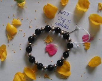 Gem stone Bracelet: black ONYX (8mm)