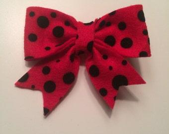 Red Dot Felt Bow (Large)