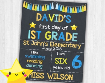 First Day of School Signs Printable Back to School Chalkboard Sign