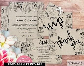 Kraft Wedding Invitation Template Rustic Wedding Invitation Set Wedding Invite Wedding Invitation Template Printable Invite Set 006