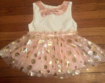 Pink polka dot tutu dress