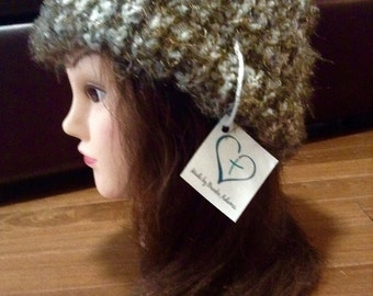 Furry Brown and White knit Hat Mens or Womens