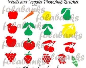 Fruits and Veggies Photoshop Brushes