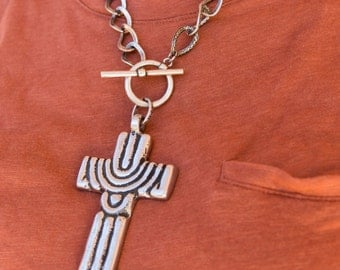 Mexican Pewter Cross Necklace - Handmade One-Of-A-Kind