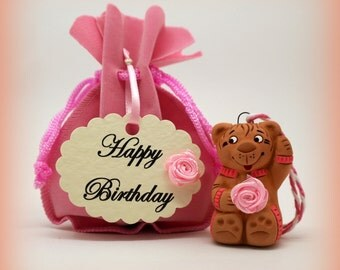 Hanging little teddy bear with pink rose * Birthday greetings