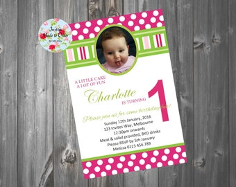 Pink and green Birthday Invitation with photo polka dots