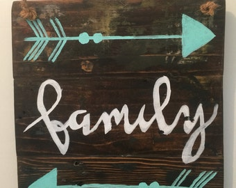 """Rustic/ wooden sign/ home decor/""""family""""/"""
