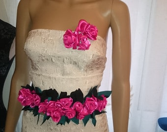trim flower of belt and broche(adorno pelo)