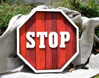 Wooden Stop Sign