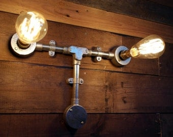 Industrial 'T' Wall Light Pipe Retro Steampunk Vintage Wall Sconce Metal