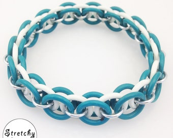 Green and White Stretchy Bracelet