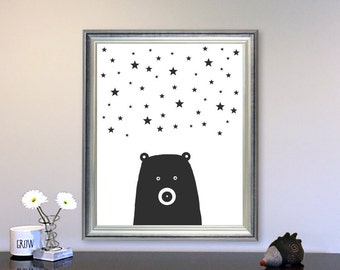 Black and White nursery art Bear scandinavian art printable wall art, Playroom Wall Art Kids Room Decor, Stars nursery wall art Bear nursery