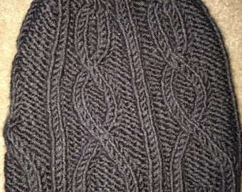 Adult Gray Cabled Hat