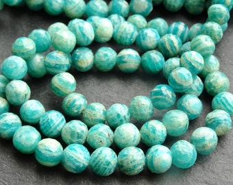 7mm faceted Russian Amazonite rounds, 46cm string, 65 beads (2727)