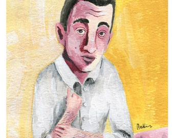 JD Salinger painted portrait A5 PRINT