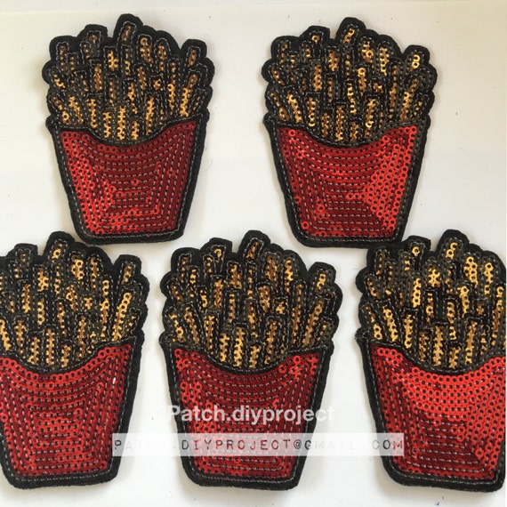Fried glittery iron on patch