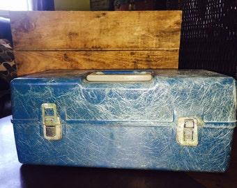 Vintage Tackle Box/Vintage Blue Fishing Lure Box/Vintage Blue Tool Box/Fiberglass Tool Box/Box/Old Box/Tackle/Fishing/Storage/Lures/Tackle